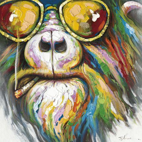Trendykunst presenteert dit prachtige schilderij van een kleurrijke hippie hond  Olieverf schilderijen zijn met de hand geschilderd op doek.