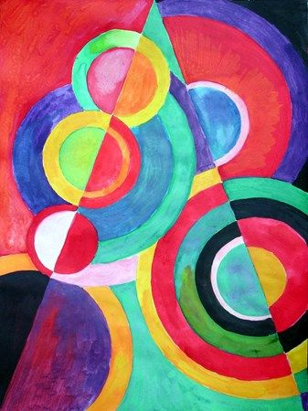 abstract like Sonia Delaunay  Use templates like plates and rulers to draw pencil lines.  Then have kids paint the sections.
