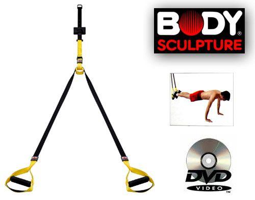 Body Sculpture Total Body Suspension Trainer with DVD can help to improve core stability, flexibility and works on toning all major muscle groups. It offers huge variety of exercises that can be used both outdoors as well as indoors. We offer instructional DVD that will help to guide for exercise and if you are interested to buy body sculpture total body suspension trainer with DVD only on $79.95, visit or order on http://www.worldfitness.com.au/product_info.php?products_id=1286.