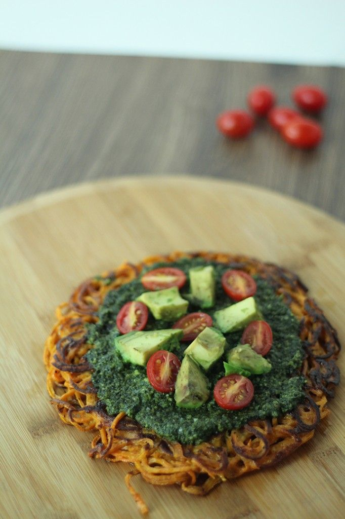 Guest Recipe by Alissandra Maffucci of Inspiralized--Sweet Potato Crust Pesto Pizza with Tomatoes and Avocado - The Paleo Mom