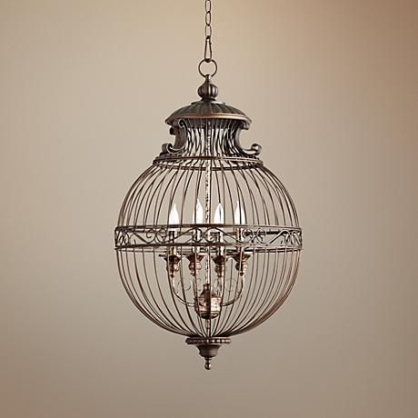 "Quorum Birdcage 18 1/2"" Wide Oiled Bronze Pendant Light - #2Y143 | LampsPlus.com"