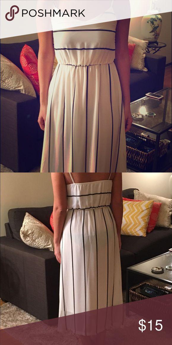 Spaghetti straps blue and white dress Gorgeous tea length summer chiffon dress.fun and flirty. Never worn. Runs small. Dresses Midi