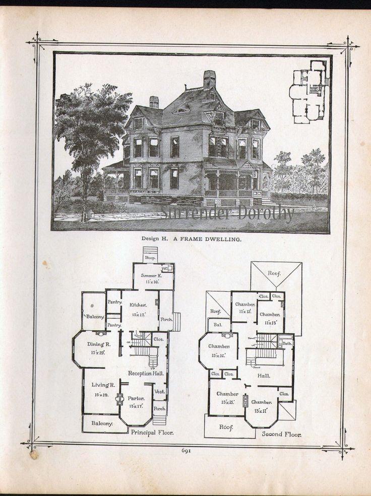 Gothic Frame Dwelling Vintage House Plans 1881 Antique ...