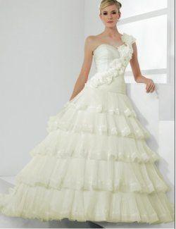 Organza Fashion Flower One-shoulder with Ball Gown princess princess wedding dresses