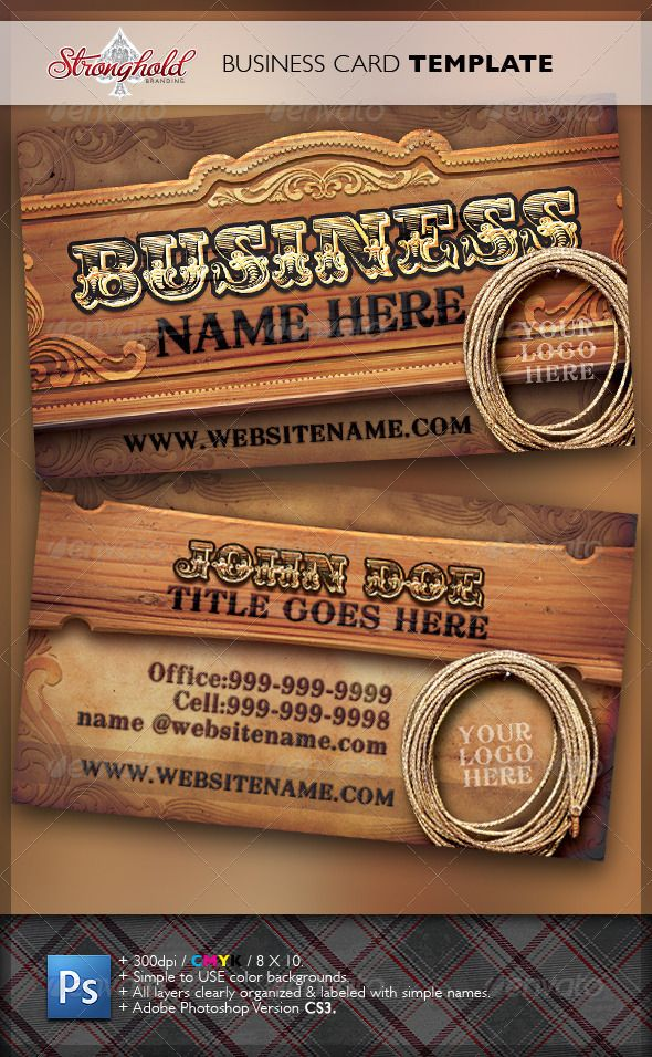 wild west business card template