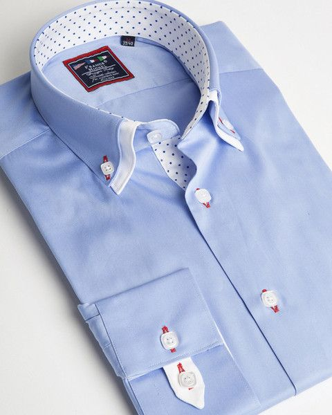 Blue designer double collar shirt with white and dots contrasting liner