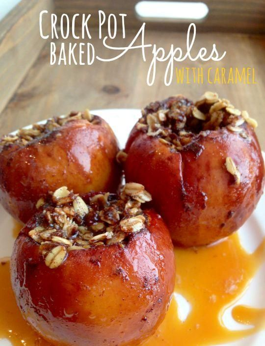 Crock Pot Baked Apples with Caramel - Love with recipe