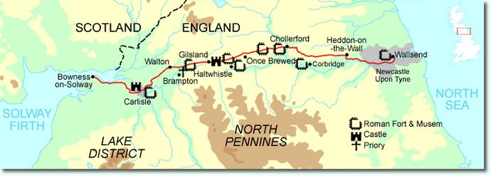 The Hadrian's Wall Path is a long distance footpath in the north of England, which became the 15th National Trail in 2003. It runs for 135 km (84 mi), from Wallsend on the east coast of England to Bowness-on-Solway on the west coast