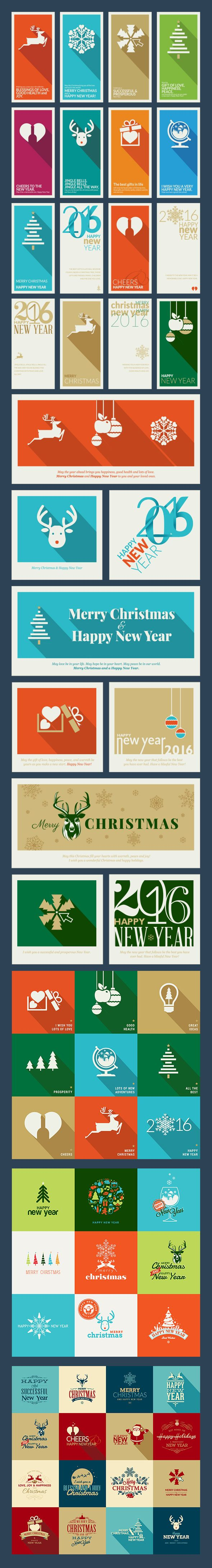 Flat Design Christmas Cards by PureSolution on Creative Market
