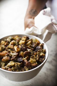 Oyster Stuffing...traditional New England-style stuffing made with bread, smoky cured pork, and oysters.