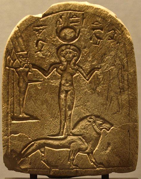 Stela including the god Min, goddess Qetesh and Resheph ...