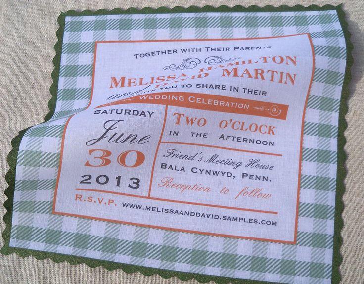 Handkerchief Wedding Invitation Modern Vintage Gingham Metallic Painted Edge