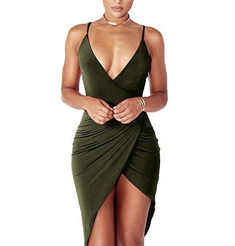 Women's Sexy V Neck Spaghetti Strap Bodycon Wrap Dress Front Slit Bandage Midi Club Dresses