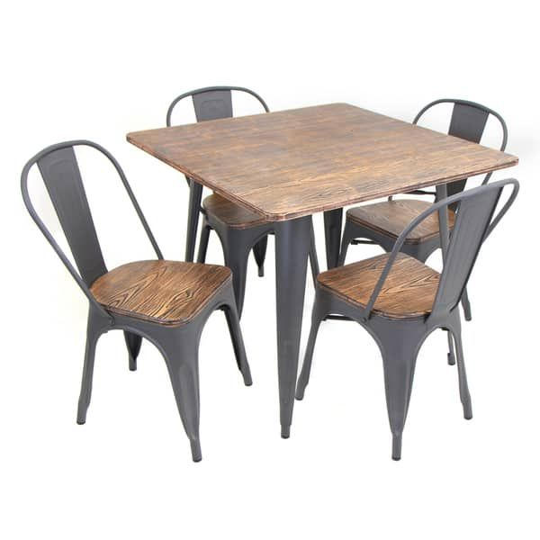 Oregon 5-piece Modern Industrial Dining Set