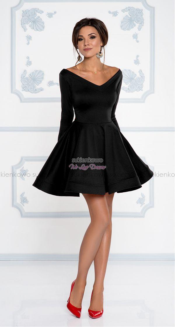 be015ea847 Sukienkowo.com - DAISY - Rozkloszowana sukienka z dekoltem i długim rękawem  czarna