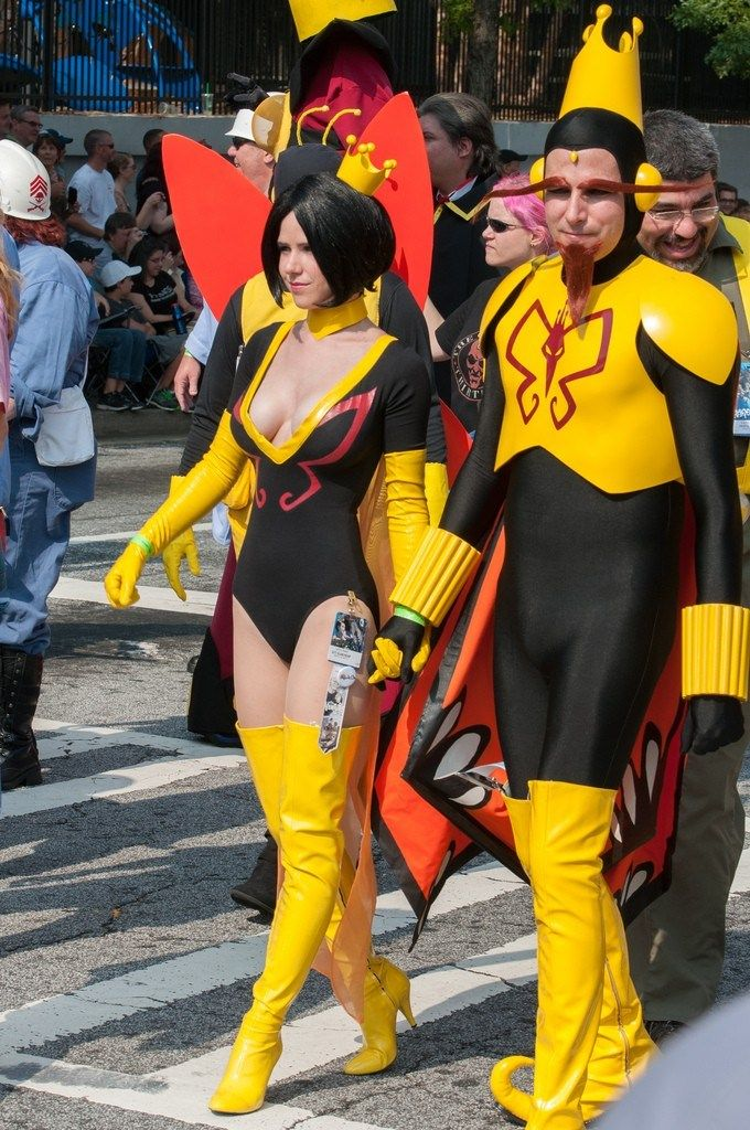 The Monarch and Mrs. Doctor Girlfriend-Monarch from the Venture Bros. Cartoon   -----  The Dragon Con 2013 Parade