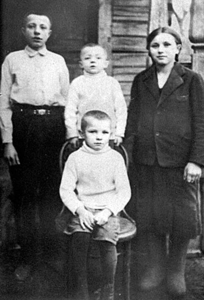 Yuri Gagarin (1934 – 1968), a Russian cosmonaut, the first human in space, as a child (sitting) with his brothers Valentin and Boris and sister Zoe. Klushino Village, Gzhatsk Region, Smolensk Province, Russia. 1938. #Russian #cosmonaut #Yuri_Gagarin