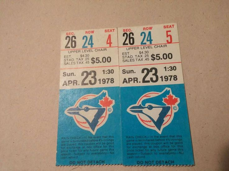 """1978 Blue Jays tickets: """"Found these while sorting through some old boxes.. That price should be applicable for watching today's Jays games...lol."""" - Courtesy of Robin Lee."""
