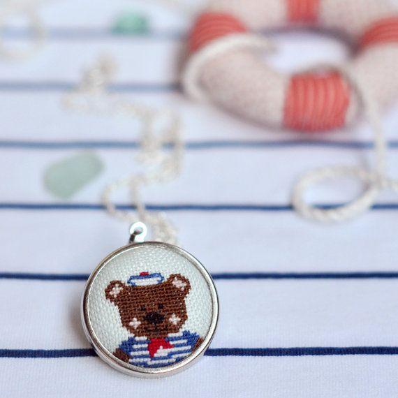 Teddy Bear Girl's Necklace Teen Nautical Pendant Ahoy Sailor Bear Embroidered Jewelry