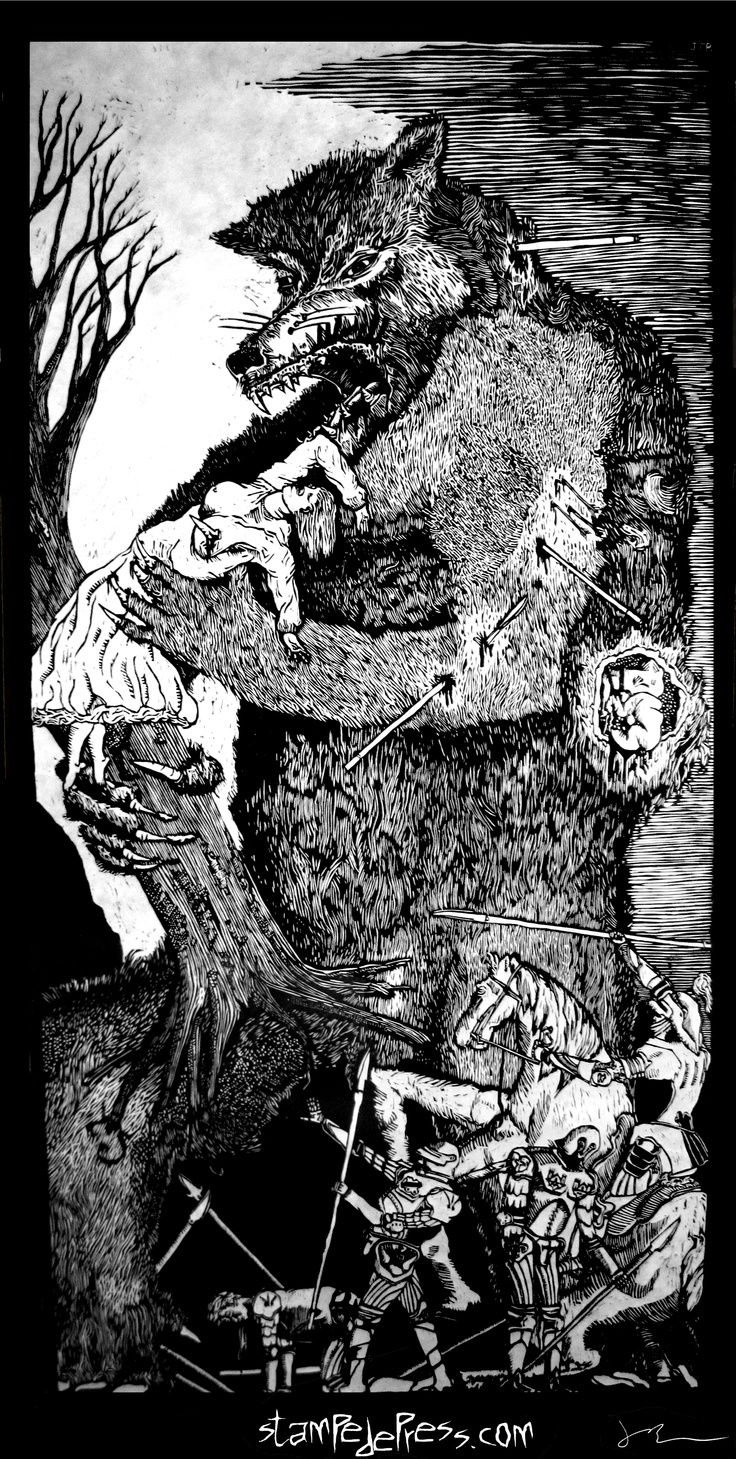 """Werewolf woodcut print by John Beckmann Stampede Press entitled """"Big Fucking Werewolf"""" The woodcut is the 1st print from the Big F'ing Monster series. www.stampedepress.com $110.00, werewolf, lycan, lycanthropy, wolf, print, art, woodcut, woodblock, poster, relief, john beckmann, stampede press, monster"""
