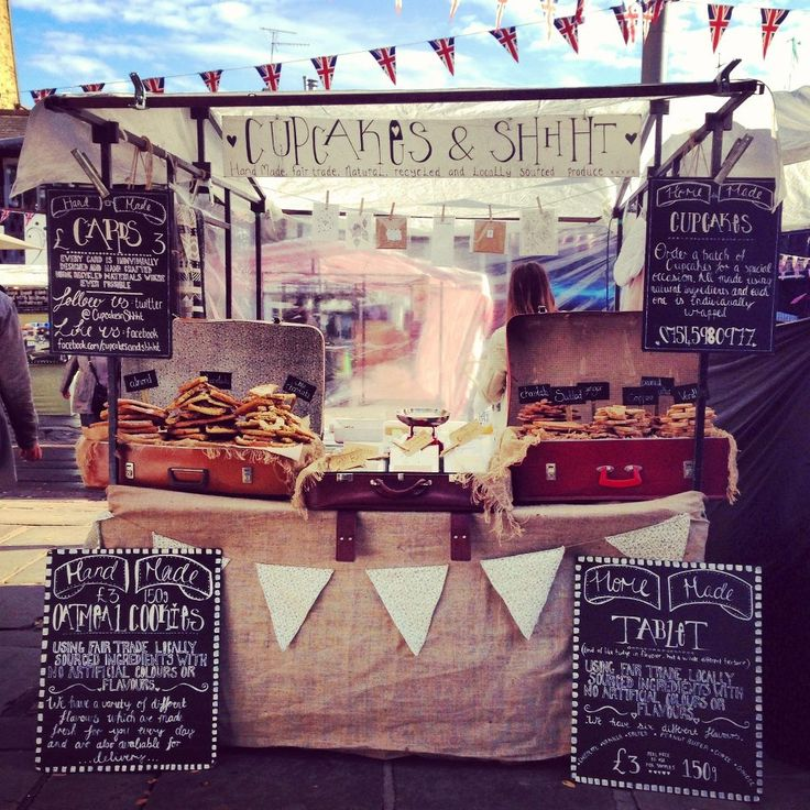 Cupcakes & Shhht! Market stall in Camden Lock. Love the vintage cases and blackboard signage :)
