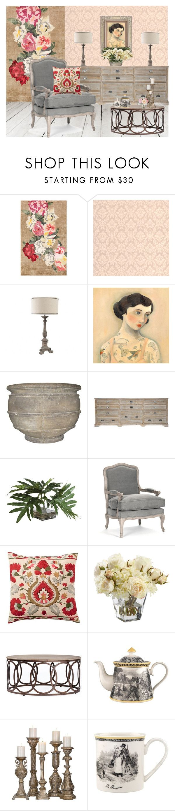"""Oak furniture"" by marielletten ❤ liked on Polyvore featuring interior, interiors, interior design, home, home decor, interior decorating, Designers Guild, Flamant, Ethan Allen and Pottery Barn"