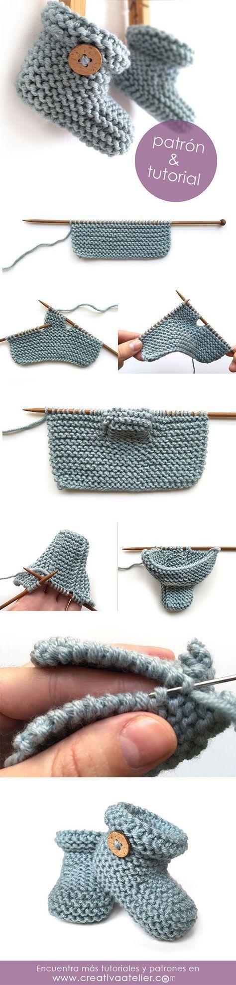 Patucos de punto sencillos - Tutorial y patrón -  Simple Knitted Baby booties - Pattern and tutorial