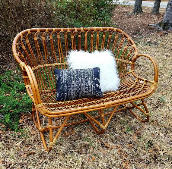 This Is An Awesome Vintage Rattan Loveseat From The 1970s With Great Boho Style It Is Made Of Bamboo That Retro Home Decor Retro Home Home Decor Accessories