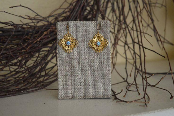 Gold Filigree Vintage Inspired Earrings, Gold Filigree drop earrings, Turquoise Filigree Dangle Earrings, Vintage Jewelry, Antique Earrings by thiswayvintage on Etsy