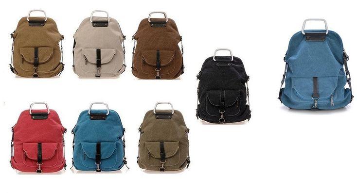 Women Multifunctional Fashion Canvas Bag Travel Crossbody Messenger Bag & Backpack