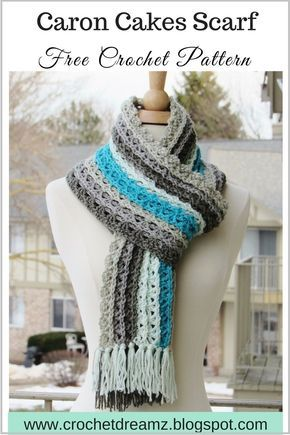 Cachecol De Ondas Do Oceano, Padrão Livre Do Lenço Do Crochet Usando O Fio Dos Bolos De Caron