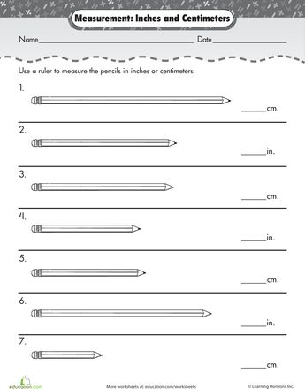Worksheets: Measurement Mania: Centimeters & Inches