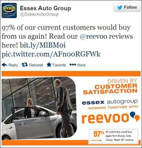 Essex Auto Group are using Reevoo Ratings to promote their 97% Customer Experience Score!