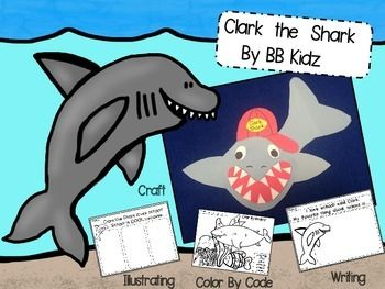 best shark storytime images sharks shark week  clark the shark craftivitythis craftivity comes tracers to make clark the shark also included