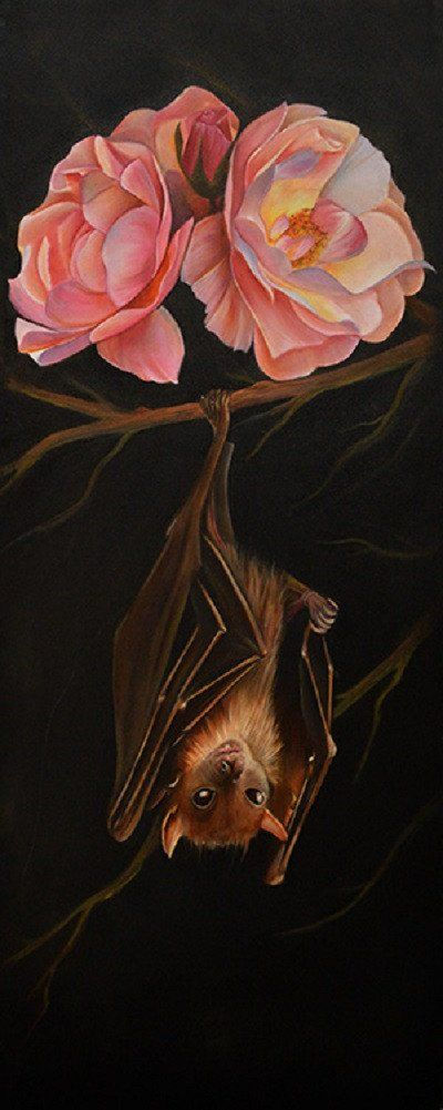 Title: Rose & Bat Artist: Noel Terracina Made-to-order giclee fine art reproductions on canvas featuring the original artwork of today's hottest tattoo artists. Stretched and ready to hang. Museum gal