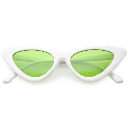 00d3be9e74e69 Womens Exaggerated Slim White Frame Cat Eye Sunglasses Color Tinted Lens  48mm (White   Green) in 2019