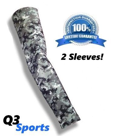 Q3 Sports Arm Sleeves - 2016 Compression Arm Sleeves For Sports and Fitness - Best Basketball Arm Sleeves With Durable Flex Technology (med)