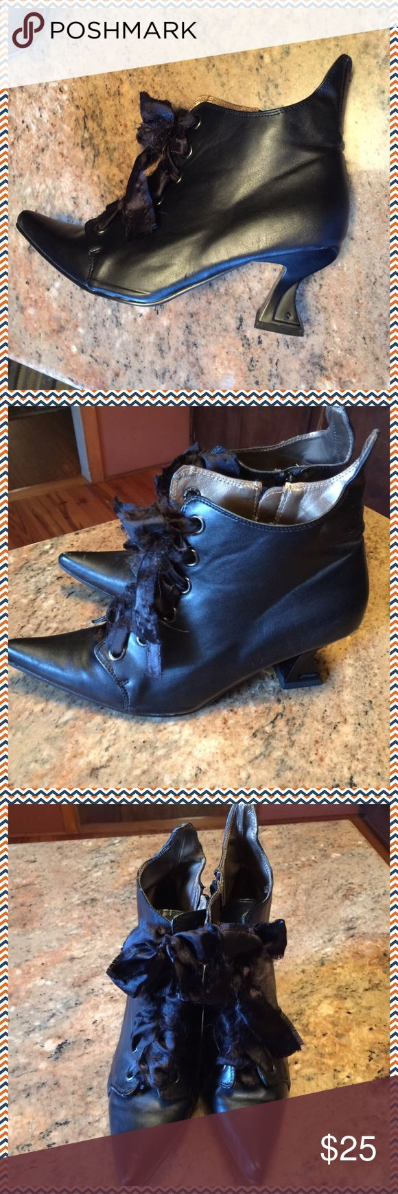 "Witch Boots with Pointed Toes  These boots look just like a witch's boots.  Soles look New.  Laces hate made of black scraggly ribbon but are made by ""Elie"".  They have been used a plenty,  but inside and soles look great.  Perfect for Halloween elie Shoes Lace Up Boots"