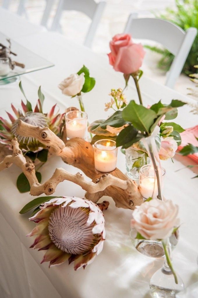 Driftwood & King Protea? My goodness yes! This whimsical combo is absolutely dreamy! #cedarwoodweddings Pharmacists' Peach Protea Cedarwood Wedding | Cedarwood Weddings