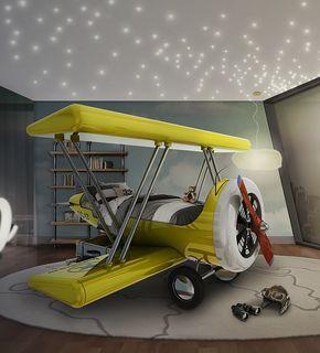 Sky B Plano hace la transición de la cuna a la cama-lo menos doloroso posible.  Las maletas decorativos son compartimentos de almacenamiento y permitir al niño a subir y bajar del avión