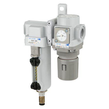 PneumaticPlus SAU320-N03DGS-MEP Compressed Air Filter Regulator Combo 3/8 inch NPT - Metal Bowl, Auto Drain, Bracket, Embedded Gauge