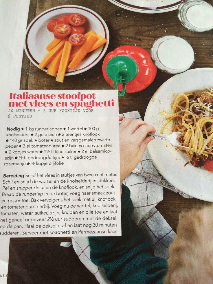 Italiaanse stoofpot met vlees en spaghetti