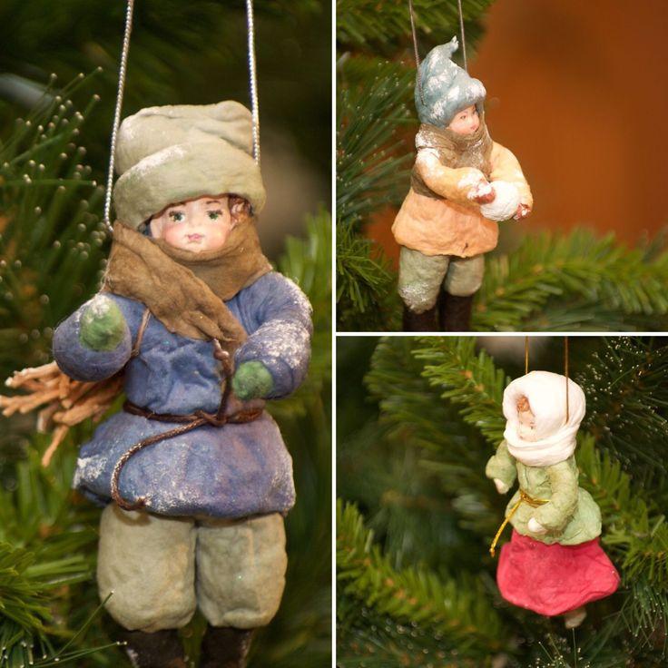 Купить Большой набор новогодних игрушек из ваты - ватные игрушки, новый год 2017, игрушки из ваты