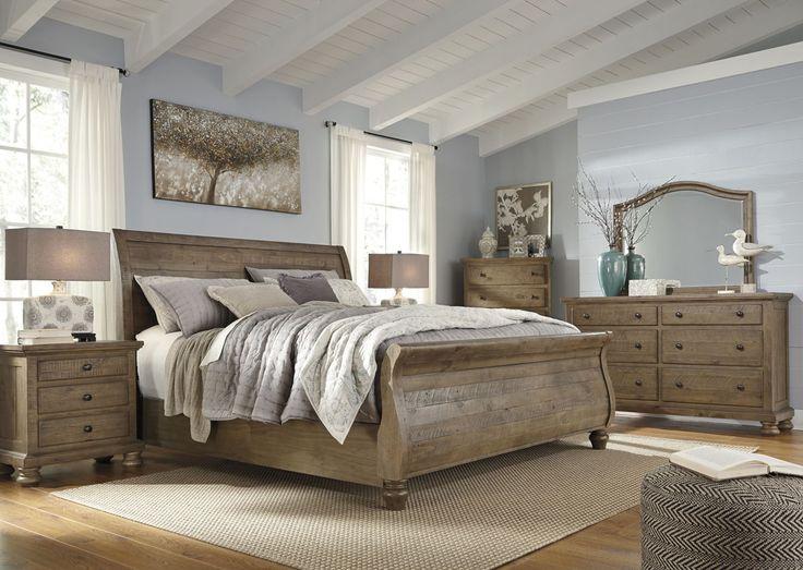 Trishley Casual Light Brown Glass Wood Master Bedroom Set Brown Bedroom Furniture Pinterest