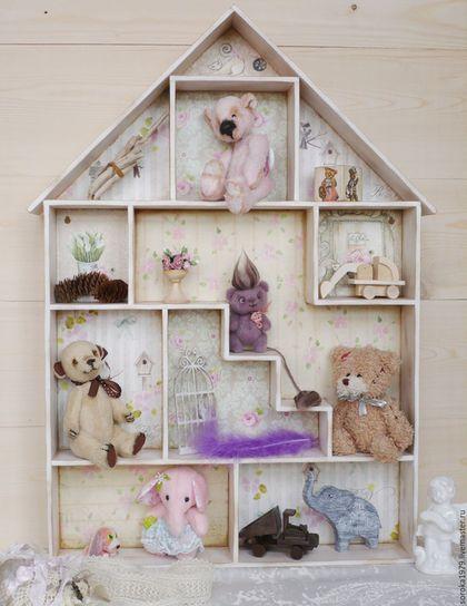 Купить Домик для Тедди, кукольный домик, румбокс, домик-полка - разноцветный, домик-витрина
