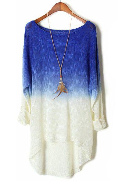 blue gradient batwing long sleeve sheer sweater, want