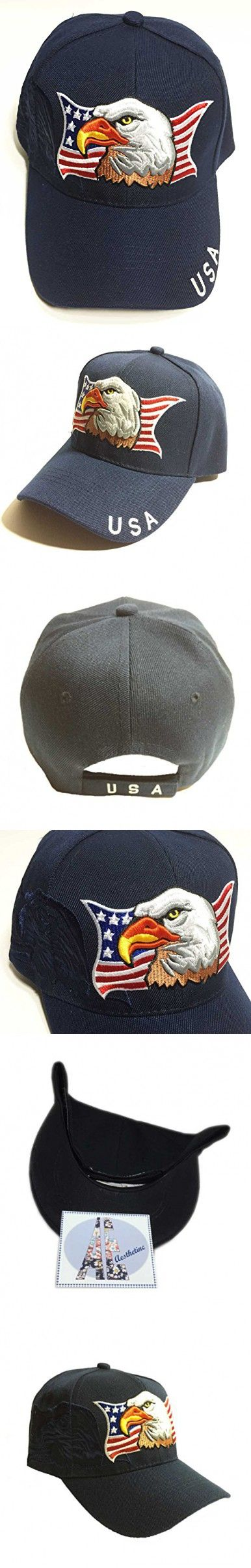 Patriotic American Eagle and Flag Baseball Cap with USA (Navy Blue)