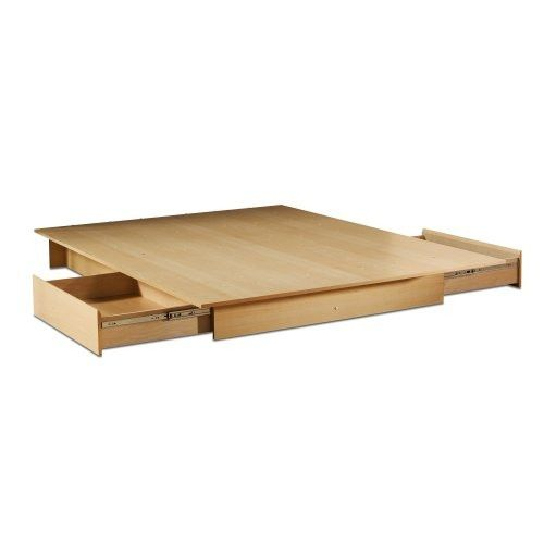 This Full/Queen Maple Platform Bed with 2 Storage Drawers with its Natural Maple finish has a timeless look and blends easily in any decor. It provides storage with two large drawers, one on each side