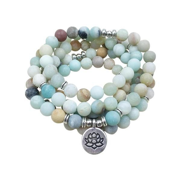 108 Matte Amazonite Buddhist Charm Mala Beads Bracelet Beaded