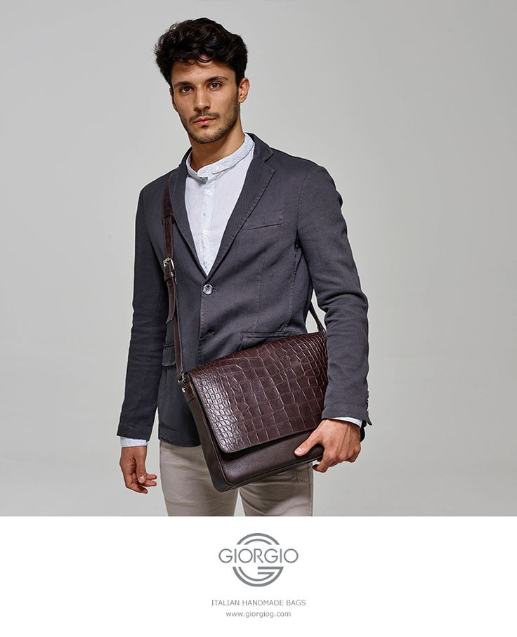 Luxurious smart casual men's calfskin leather shoulder bag, the flap with crocodile print, buckles and fasteners in palladium metal.  #italian #handmade #leather #bag #men #fashion #trend2016 #shopping